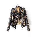 Trendy Allover Grommets Embellished Stand-up Collar Long Sleeves Open Front PU Jacket