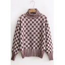 Trendy Checkered Plaids Long Sleeves Mock Neck Pullover Sweater