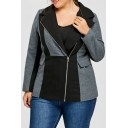 Trendy Notched Lapel Zippered Color Block Long Sleeve Oversize Blazer