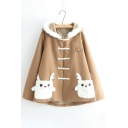 Cute Cartoon Letter Embroidered Long Sleeve Hooded Coat