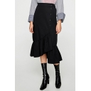 New Stylish Plain High Waist Ruffled Hem Asymmetric Midi Skirt