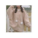 Lovely Plain Batwing Sleeve Zipper Placket Soft Hooded Coat with Drawstring