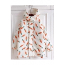 Adorable Carrot Print Long Sleeve Snap Button Hooded Coat