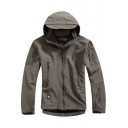 Simple Men's Plain Long Applique Sleeve Outdoor Hooded Coat