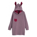 Simple Plain Rabbit Ear Hooded Long Sleeve Hoodie Mini Dress