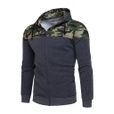 Fashion Color Block Camouflage Print Long Sleeve Zipper Hoodie