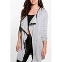 New Stylish Contrast Trim Long Sleeve Open Front Tunic Cardigan