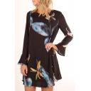 Elegant Floral Printed Round Neck Long Bell Sleeves Shift Mini Dress