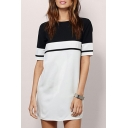 Natural Color Block Short Sleeves Round Neck Zip-Back Mini Shift Dress