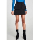 Chic Simple Plain Pearl Embellished Layered Mini Skirt