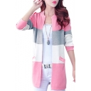 Color Block Round Neck Long Sleeve Buttons Down Cardigan