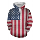 Trendy Stars Stripes Flag Pattern Long Sleeves Pullover Hoodie with Pocket
