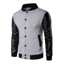 Simple Patchwork Button Down Contrast Trimmed Long Sleeves Baseball Jacket
