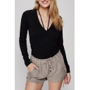 New Trendy Long Sleeve VG-Neck Simple Plain Pullover Sweater