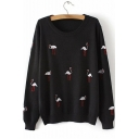 New Stylish Swan Embroidered Round Neck Long Sleeve Loose Pullover Sweater