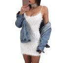 Sexy Furry Mohair Plain Scoop Neck Mini Strapped Dress