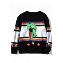 Trendy Cartoon Dinosaur Striped Star Pattern Color Block Long Sleeves Round Neck Pullover Sweatshirt