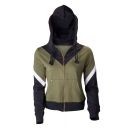 Sportive Color Block Symbol Wing Printed Long Sleeves Zippered Hoodie with Pockets