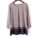 Stylish Floral Pattern Round Neck Long Sleeve Loose Blouse