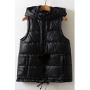 Simple Quilted Hooded Zippered Warm Plain Vest with Pompoms