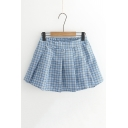 Girly Checkered Plaids Elastic Waist Box Pleated Mini Skirt