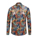 Trendy Tiger Floral Printed Point Collar Long Sleeves Button Down Shirt
