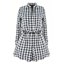 Stylish Lapel Plaid Button Down Long Sleeve Tie Waist Shirt Dress