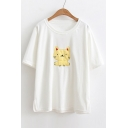 Cute Cat Pattern Round Neck Short Sleeve Split Hem T-shirt