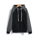 New Stylish Color Block Striped Print Long Sleeve Pocket Hoodie