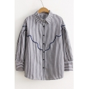 Fancy Striped Pattern Button Down Point Collar Causal Shirt