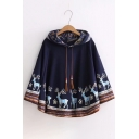 Pop Deer Floral Printed Tasseled Drawstring Hooded Batwing Sleeves Cape