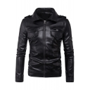 Classic Lapel Zip Up Long Sleeve Button Detail Biker Jacket