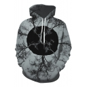 Chic Digital Tree Print Long Sleeve Pocket Hoodie for Couple