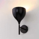 Industrial Wall Sconce with Goblet Shape Shade in Black/White/Grey Finish