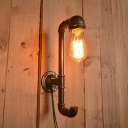Industrial Pipe Wall Sconce in Bare Bulb Style, Bronze