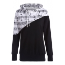 Casual Color Block Note Print Drawstring Hood Long Sleeve Hoodie