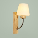 Industrial Wall Sconce with White Glass Shade Wooden Lamp Base