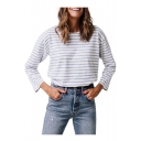 Fashion Striped Round Neck Long Sleeve Tee