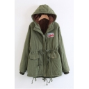 Stylish Letter Applique Drawstring Waist & Hem Zippered Faux Fur Padded Long Coat with Hood & Flap-Pockets