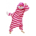 Fairytale Chesire Cat Striped Cartoon Button-Down Pajama Jumpsuit with Hood & Tail