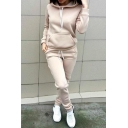 Simple Plain Long Sleeves Pocket Hoodie with Drawstring Waist Slim-Fit Sports Pants