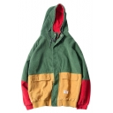 Fashionable Color Block Print Long Sleeve Zipper Hooded Coat
