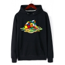 Stylish Melting Rubik's Cube Pattern Long Sleeves Pullover Hoodie with Pocket