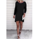 New Stylish Striped Trim Round Neck Long Sleeve Dress
