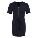 Simple Plain V-Neck Short Sleeve Zip Up Pencil Mini Dress