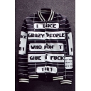 Cool Letter Striped Pattern Button Down Long Sleeves Monochrome Baseball Jacket