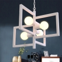 Industrial 4 Light Chandelier with Square Metal Frame, White