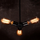 Industrial Chandelier with 3 Light in Open Bulb Style, Black