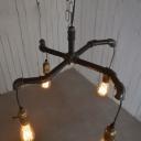 Industrial 4 Light Pipe Chandelier in Open Bulb Style