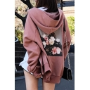 New Stylish Graphic Print Long Sleeve Zip Up Hooded Loose Coat